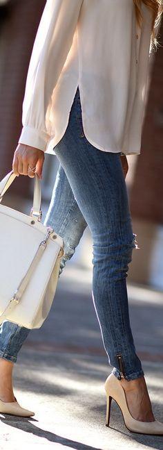 Zara Denim, Louis Vuitton Bag via Trendlee, Schutz Heels