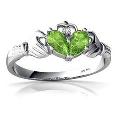 14K White Gold Gemstone Celtic Claddagh Ring