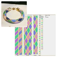 12 around bead crochet rope pattern and a photo showing what a bracelet made using that pattern looks like. I did not create the pattern or jewellery. I simply put the two together as I find it useful to see the finished piece next to the pattern when cho Crochet Necklace Pattern, Crochet Beaded Bracelets, Bead Crochet Patterns, Bead Crochet Rope, Handmade Beaded Jewelry, Beaded Jewelry Patterns, Bracelet Patterns, Loom Beading, Bead Weaving