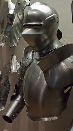Armor for use in the field Pauldrons and Vambraces 1500-1510 CE Italy Breastplate 1500 CE Italy or the Low Countries and Sallet (Helmet) 1450 CE Italy Steel, via Flickr.