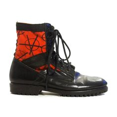 49d73ff9bac Anarchy Jungle Boots Vintage 90s Black Leather   Red Printed Canvas Canvas  Lace Up US Military Inspired Combat Ankle Boots Women s Size 7