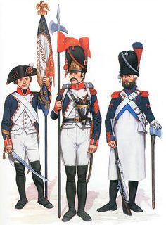 • Sergent-major with 'Aigle', 4e de Ligne, 1805 • '2e Porte-Aigle' 8e de Ligne, 1811 • Sapeur, 46e de Ligne, 1808