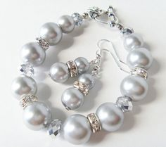 Gray Pearl Bracelet and Earrings set  Gray pearls with by Eienblue, $16.00 on etsy.com