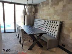 Luxury banken op maat & in 2000 kleuren! Dining Bench, Lifestyle, Furniture, Collection, Home Decor, Lush, Dining Rooms, Decoration Home, Table Bench