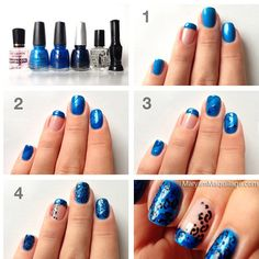 Blue Baby Leopard nail art