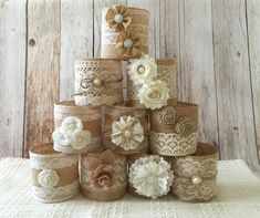rustic burlap and lace covered mason jar vases wedding decoration, bridal shower, engagement, anniversary party decor - Baby Shower Decors Vintage Mason Jars, Mason Jar Vases, Mason Jar Crafts, Pot Mason, Tin Can Crafts, Diy And Crafts, Bridal Shower Decorations, Wedding Decorations, Wedding Ideas