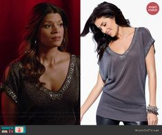 Xiomara's silver top with beaded trim on Jane the Virgin.  Outfit Details: http://wornontv.net/41779/ #JanetheVirgin