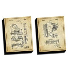 Picture it on Canvas 'Piano Vintage Patent Drawings' 2 Piece Graphic Art on Canvas Set