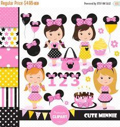70% OFF SALE Minnie clipart, Minnie clip art, girl clipart, digital clipart, birthday clipart, pink minnie, birthday clipart - CL107 by PremiumClipart on Etsy