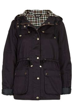 TOPSHOP Hooded Check Lined Jacket - Jackets & Coats - Clothing
