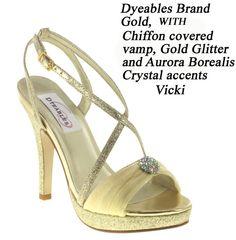 Womens Bridal Prom Gold High Heels Platform Stiletto Shoes & AB Crystals Vicki D   eBay