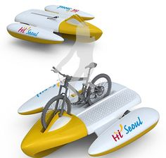 Amphibious bike becomes a raft to pedal boat on waterways -  http://www.ecochunk.com/1420/2012/07/30/amphibious-bike-becomes-a-raft-to-pedal-boat-on-waterways/ -   Keep it GREEN and Enjoy! http://www.ecochunk.com