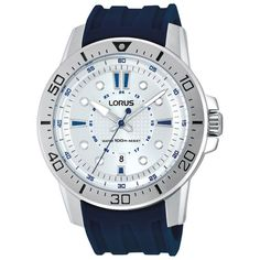 Lorus 45mm Men's Analog Sport Watch - Blue/Silver/White