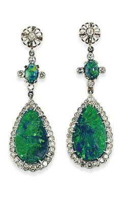Opal, Emerald & Diamond Earrings