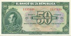 BILLETE DE 50 PESO AÑO 1951 BANCO DE LA REPÚBLICA DE COLOMBIA Vintage Posters, Banknote, History, Monopoly, Chile, Central Bank, Money, Brazil, Report Cards