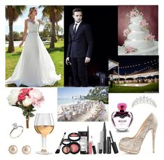 #171: Your Wedding With Liam by exoo on Polyvore featuring moda, Giuseppe Zanotti, YooLa, Marc Jacobs, Moschino, OKA, Marc Blackwell, Laura Geller, Payne and Bodas