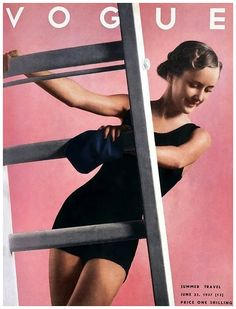 "Vintage Vogue Magazine Cover Art for their ""Summer Travel"" issue, June 1937 Vogue Magazine Covers, Fashion Magazine Cover, Fashion Cover, V Magazine, Magazine Collage, Magazine Design, Madame Gres, Anna Wintour, Golf Fashion"