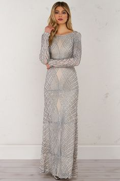 Front View Embroidered Long Dress in Silver