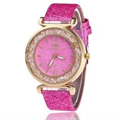 Ladies Jewel-Accent Leather Casual Quartz Wristwatch 6 Colors