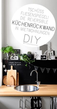 Die reversible Küchenrückwand | Lösung für hässliche Fliesenspiegel in der Mietwohnung [DIY] | Tafelwand in der Küche selber bauen | Fliesen in der Küche im Miethaus überdecken | @ Minza will Sommer