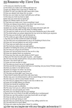 52 reasons why i love you - Google Search - Crafting Intensity