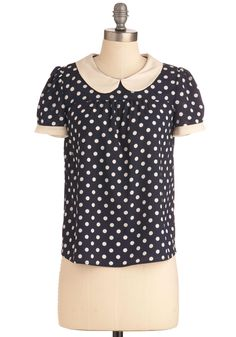 Precious Memories Top in Navy - Mid-length, Vintage Inspired, Blue, White, Polka Dots, Buttons, Peter Pan Collar, Work, 60s, Short Sleeves, Rockabilly