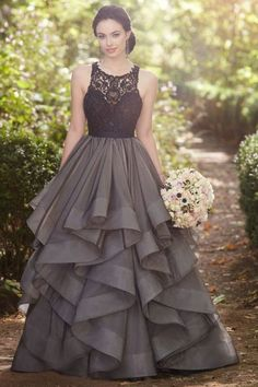 Beautiful grey lace organza prom dress, ball gown, formal dress 2017