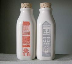 Julia Rothman has turned her Luxury Apartments print into limited-edition ceramic milk bottles, available at Reform School in LA. Milk Packaging, Packaging Design, Pretty Packaging, Deco Table, A Table, Reform School, Cap Ferret, Up House, 3d Prints
