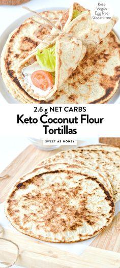 Coconut Flour flatbread – vegan + keto tortillas – Sweetashoney - Famous Last Words Coconut Flour Tortillas, Keto Flour, Keto Tortillas, Coconut Flour Recipes, Almond Flour, Almond Butter, Best Keto Bread, Low Carb Bread, Low Carb Keto