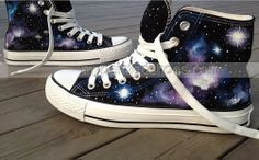 Galactic nebula #Galaxy Shoes custom painted shoes,High-top Painted Canvas Shoes