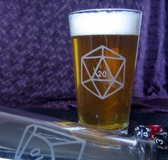 New to DancesWithMonsters on Etsy: Polyhedral Dice Etched Pint Glass Set (60.00 USD)