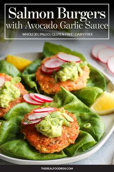 Serve Salmon Burgers on a bed of greens drizzled with olive oil, freshly squeezed lemon juice and a dollop of our Avocado Garlic Sauce Dairy Free Recipes, Paleo Recipes, Cooking Recipes, Gluten Free, Meal Recipes, Paleo Dinner, Healthy Dinner Recipes, Breakfast Recipes, Healthy Dinners