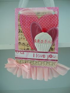 Hanging Valentine card with lace and ruffles.