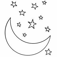 Afbeeldingsresultaat voor maan en sterren kleurplaat