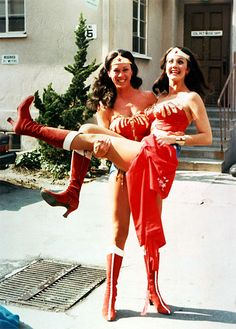 Jeannie Epper, Wonder Woman stunt double, with her Wonder Woman acting double Lynda Carter (1976)