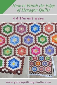 Learn how to finish the edge of your hexagon quilts- choose from 4 different ways. via @getagrama