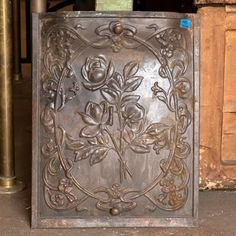 Pressed Metal Fireplace Summer Front Cover - Columbus Architectural Salvage