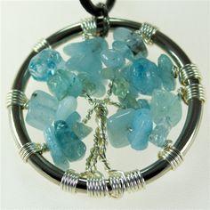 Aquamarine Tree of Life pendant with leather necklace  $35.00