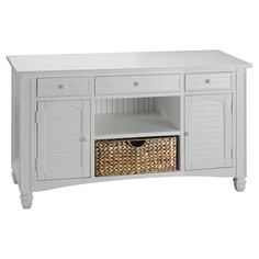 Add a touch of cottage-chic charm to your living room or hall with this 3-drawer console table, showcasing 2 louvered doors and a complementing seagrass bask...