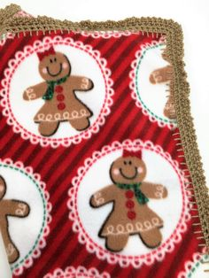Mr. and Mrs. Gingerbread Crochet Edge Fleece Doll Blanket With Teddy Trim…