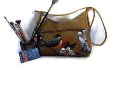 Womens Designer Leather Bag/ Hand Painted Bird in Autumn Leaves…