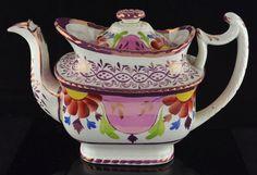 ENGLISH STAFFORDSHIRE TEAPOT-COTTAGE SHAPE-19TH C. Vintage Pottery, Pottery Art, Victorian Tea Sets, Purple Plates, Teapot Design, Teapots And Cups, T 4, Tea Party, Tea Cups