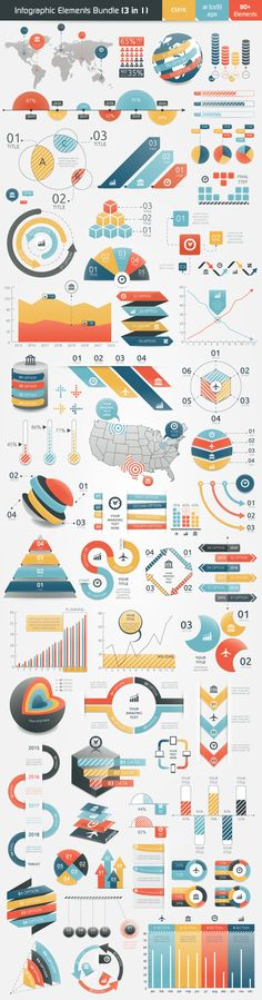Infographic Bundle contains 3 sets of infographic elements. This sets contain fully vector graphic objects. If you buy this bundle template be sure that you have enough knowledge to edit it. Unique colour scheme and different styles of infographic objects Graphisches Design, Graph Design, Chart Design, Layout Design, Design Trends, Illustrator, Planer Layout, Magazin Design, Charts And Graphs