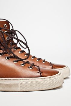 Buttero Tanino leather hi-top shoes
