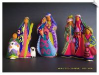 Huichol 8 figure, 3 pc, Beaded Ceramic Nativity Set - Mexico