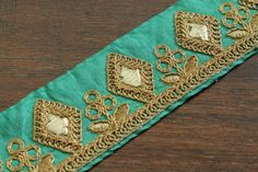 Your place to buy and sell all things handmade Green Lace, Green Fabric, Lace Patterns, Textures Patterns, Saree Border, Sari Fabric, Cool Fabric, Silk Ribbon, Diy Fashion