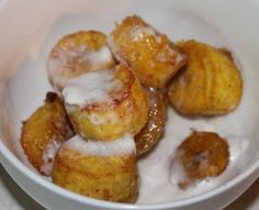 Don't just keep plantains for savory dishes - this sometimes hard to peel cousin of the banana can also be used in a desert dish as well. This is what A made for her sisters last night....  This ma...