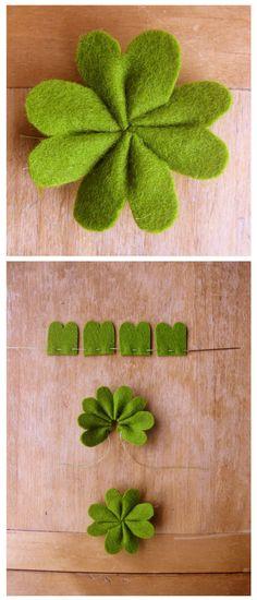 Trevo fácil de quatro folhas em feltro