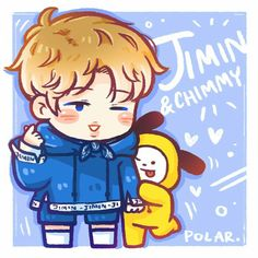 Jimin & Chimmy Fan art ❤ By Polar Bts Chibi, Bts Jungkook, Bangtan Bomb, Taehyung, Cartoon Photo, Anime Lindo, Bts Drawings, Fan Art, Billboard Music Awards