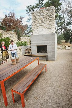 Elegant Outdoor Fireplace And Modern Picnic Table Part 28